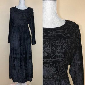 Vintage 90s Crushed Velvet Black Empire Maxi Dress